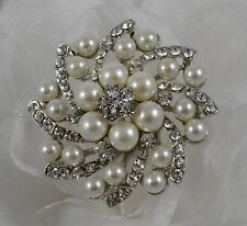 "2"" CREAM FAUX PEARL & LEAF DIAMANTE RHINESTONE CRYSTAL BROOCH PIN"
