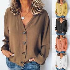Damen Langarm V-Neck T-Shirt Bluse Freizeit Knopf Shirt Oberteile Tunika Tops DE
