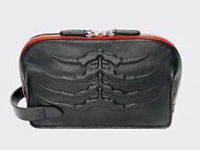 Alexander McQueen McQ Black Soft Mutton Leather Ribcage Wash Bag Men's Gift NEW