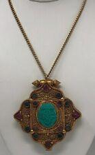 VTG Tibetan Ghau Prayer Box Pendant Necklace w/ Tibetan Silver Ruby Emerald Turq