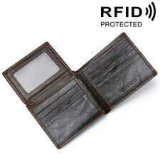 Men's Trifold Genuine Cow Leather RFID Protected Pocket Wallets for Men