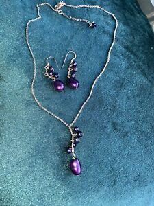 Vintage Estate QG 925  Sterling Blue Freshwater Pearl Y Necklace Earrings Set