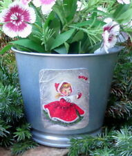 Sweet girl singing, metal silver planter,stocking stuffer,vintage Christmas card