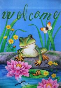 """Lillypad Frog Garden Flag by Toland, 12.5"""" x 18"""",  #9121, Welcome"""