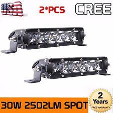 Cree 2X 7inch 30W LED Slim Single Row Light Bar Spot Lamp Truck UTV 4WD SUV Fog