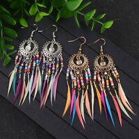 Retro Women's Bohemian Style Round Multicolor Drip Drop/Dangle Feather Earrings