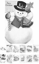 """Adult Coloring Over Grayscale Book (24 cards 4.5""""x6.5"""") Christmas Santa FLONZ501"""