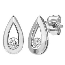 Naava 9ct White Gold Teardrop 0.15ct Diamond Earrings - (PE01803W)
