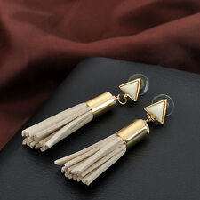 Women Retro BEIGE Velvet Tassels Dangle Earrings Drop Earring Triangle Ear Studs