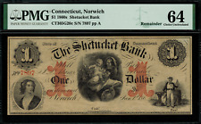 1860's $1 Obsolete - Norwich, Connecticut - Shetucket Bank - Graded PMG 64