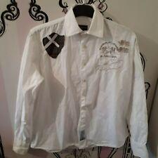 """Taille M 38-40"""" LA MARTINA Coton Blanc Polo Squad Brodé Chemise à manches longues"""