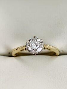 18ct Yellow Gold Round Brilliant Cut 0.75ct Diamond Solitaire ring