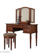 Vanity Set Mirror Desk Table Dresser Bench Stool Walnut Drawer Wood Fabric New