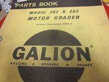 Galion 202 203 Motor Grader Parts Book Manual