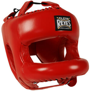 Cleto Reyes Redesigned Leather Boxing Headgear with Nylon Face Bar - Red