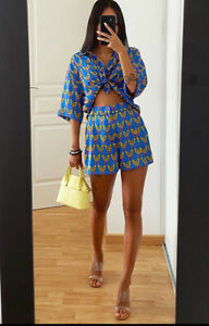 Zara Blue Bird Shorts And Shirt Top Co Ord Matching Set Size M