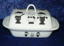 Fred porcelain traditional deep white butter dish with Fred & friends all over