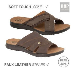 Mens New Cross Over Sandals Flip Flops Slip On Sliders Open Toe UK Size 7 - 12
