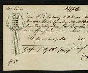 Germany Königl. Württemburgische Hof Banque Bank check Stuttgart 1837