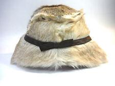 lovely VINTAGE fur satin bow art deco flapper dress hat