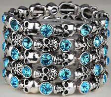 Skull Skeleton Stretch Bracelet Cuff Blue Crystal Punk Biker Halloween BD01