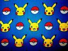 Pokemon Pikachu Pokeball Blue Quilting Fabric Robert Kaufman FQ, By the Yard