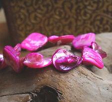 Armband ab 16 cm Perlmutt Pink Lila Silber irisierend elastisch Muschel Eckig
