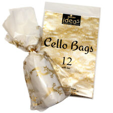 12 Festa di Natale Cellophane Cello Borse Con Twist Legami Gold Star Design