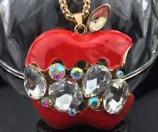Betsey Johnson Necklace Red Apple for Teacher Gold Crystals Bling