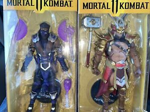 "McFarlane Mortal Kombat 11 SHAO KAHN 7"" & Purple Sub Zero Action Figure IN HAND"