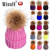 Womens Winter Knit Hat Removable Real Fox Fur Pompom Beanie Bobble Hat Keep Warm
