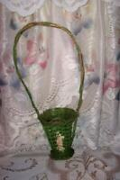 1920s BARBOLA ROSES FUNERAL BASKET GREEN FRENCH FARMHOUSE CHIPPY RUSTIC