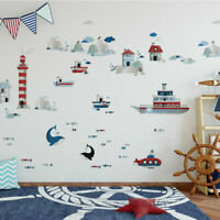 Life In Sea Wall Stickers Boys Room Wall Decal Nursery Home Decor Gift Ship Fish