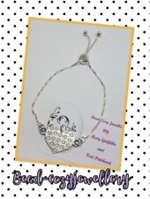 Silver Plated Heart Slider adjustable Bracelet