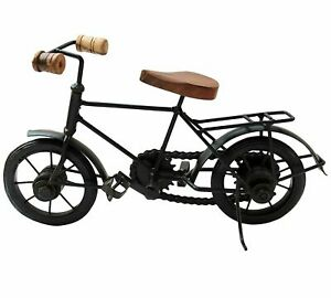 Wooden and Wrought Iron Small Miniature Cycle Home Decorative Showpiece Item