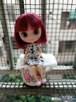 """8"""" Neo Middie Blythe Doll Joint Body Matte Face Wine Red Short Hair From Factory"""