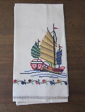 VINTAGE CHINESE LINEN CROSS STITCH TEA TOWEL WITH CHINESE JUNK, OPEN WORK