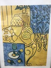 "1948 Henri MATISSE Antique Print ""Yellow and Blue Interior"" Framed SIGNED"
