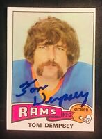 Los Angeles Rams TOM DEMPSEY auto autographed signed 1975 TOPPS card PALOMAR (D)