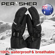 PERYSHER Snowboard Ski Gloves: Unisex Quality Waterproof (Onyx Black) Size XL