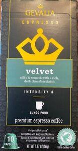 gevalia espresso velvet intensity 8 exp. date 3-20-2021 6 boxes of 10 (60) total