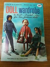 VTG 1964 COATS & CLARK'S DOLL WARDROBE TO KNIT CROCHET SEW-BOOK NO.151-NEW/OLD