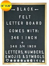 "Felt Letter Board Black 16X20 With 692-Piece Set of 1"" & 3/4"" Letters & Symbols"
