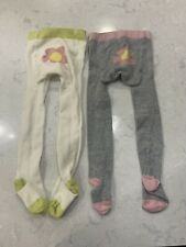 Baby Boden Tights 12-24 months White Gray Pink Flowers Excellent Condition Set 2