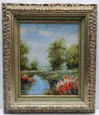 Landscape Scene Canvas Original Oil Painting Wall Art Work Framed Art Silver
