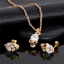 Silver&Gold Plated Crystal Skull Pendant Necklace+Stud Earring Jewelry Set 47cm