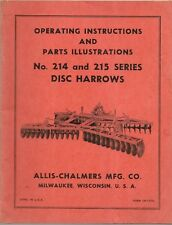 Allis Chalmers Operating Instructions And Repair Parts 214 Amp 215 Disc Harrows