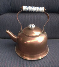 Vintage French Copper Kettle Tea Pot With Porcelain Handle & Knob