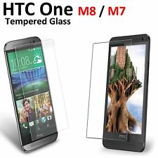 2x New Tempered Glass Screen Protector Clear Anti Scratch Film For HTC One M8 M7