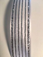 Wedding Gift Wrapping Ribbon Organza with Satin Edge ,White with Silver, 7/8""